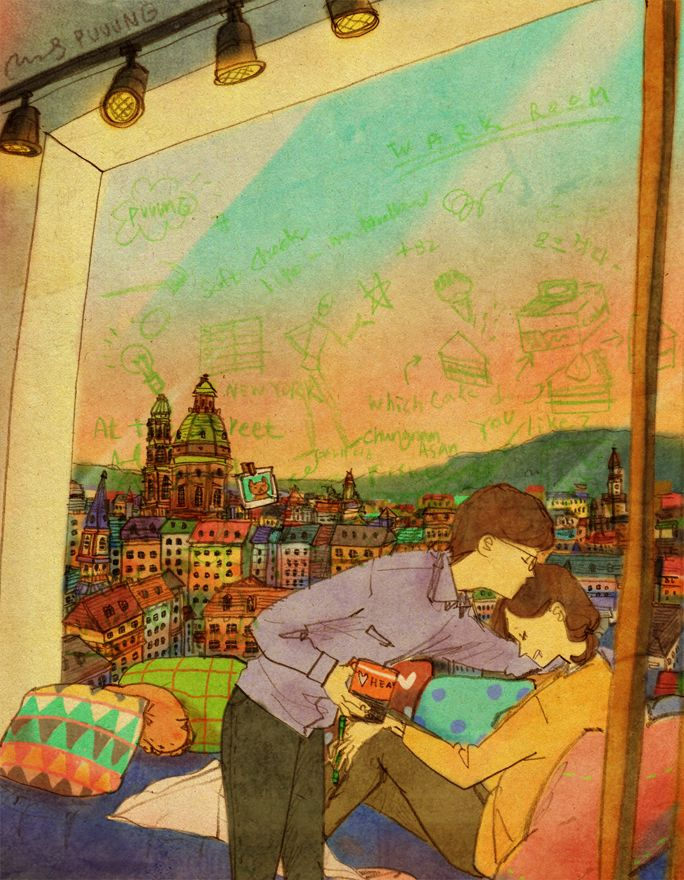 """""""The window with a photographic image of the city,  serves as her doodling book  and sometimes her colorful bedroom."""""""