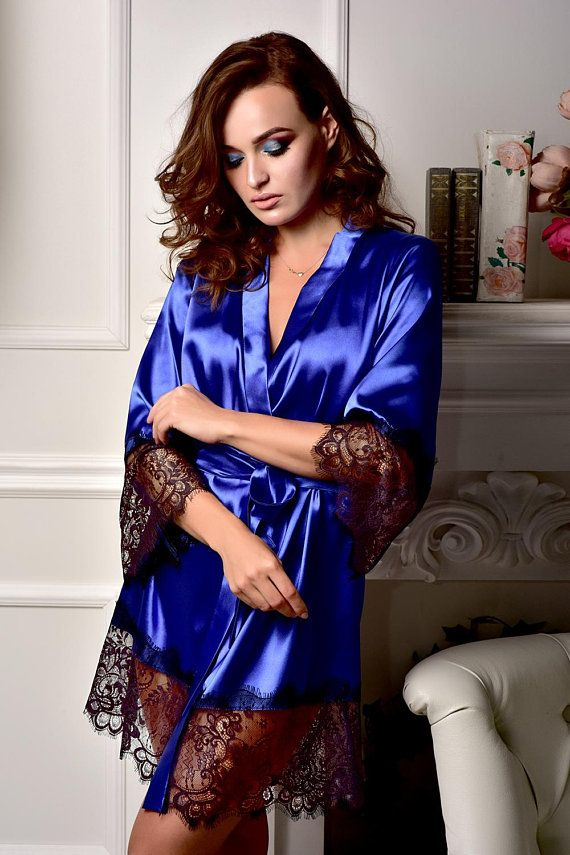 bae0b40a88 Pajama set women Bridal robe Pajama and robe set Kimono robe. Find this Pin  and more on Silk nightgown ...