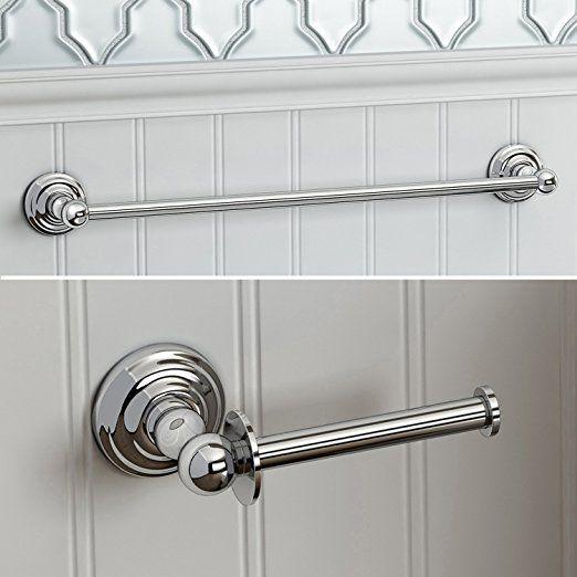 iBathUK | Traditional Bathroom Accessory Set Towel Rail + Toilet Roll Holder ACCYS4