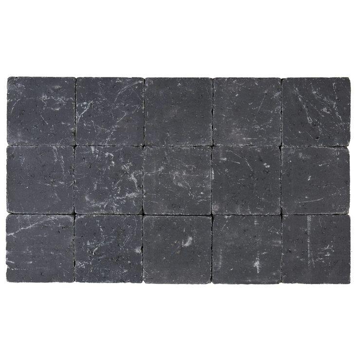 Kassei getrommeld 15x15x5 cm zwart
