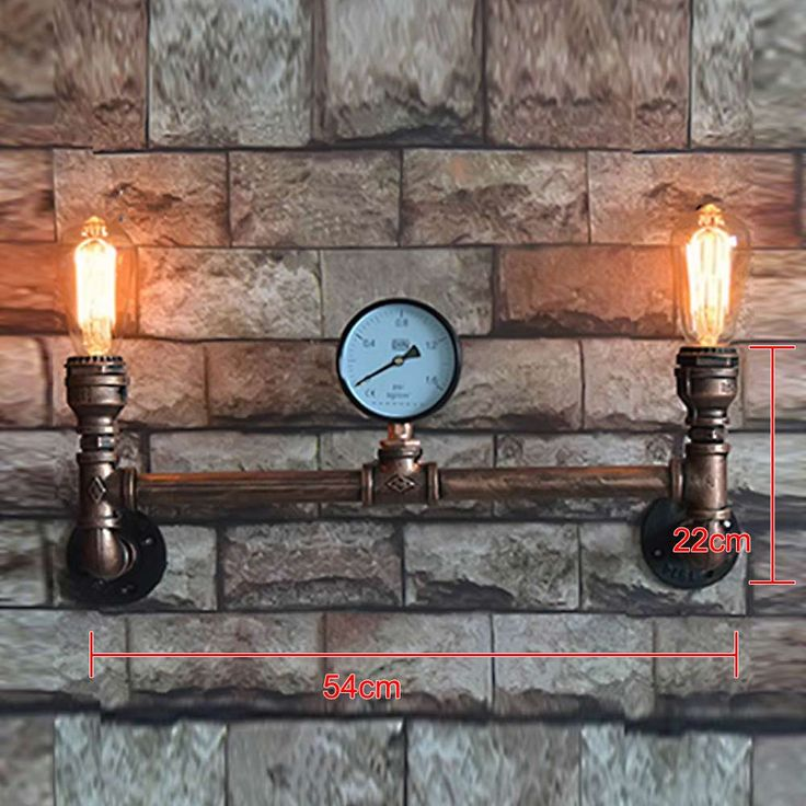 54CM*22CM Home Indoor Big Lamp Retro 2 Heads Waterpipe Iron Plated Wall Lamps Wall Lights Sconces E27 AC 110V-240V #Affiliate