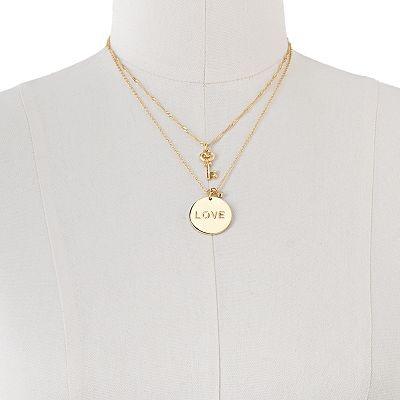 LC #LaurenConrad Gold Tone Key and Love Multistrand Pendant: Multistrand Pendant, Love Necklace, Kohls, Laurenconrad Gold, Lc Laurenconrad