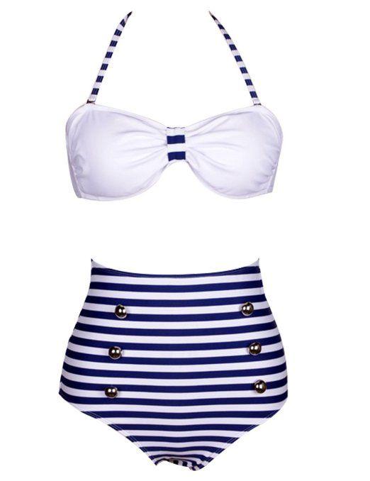 Amazon.com: Generic Retro 50s Pinup Rockabilly Vintage High Waist Bikini Swimwear Swimsuits S/M/L/XL: Clothing