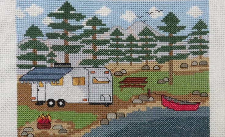 "Camp Cross Stitch - ""Camping by the Lake with Trailer"" - Pattern or Kit"
