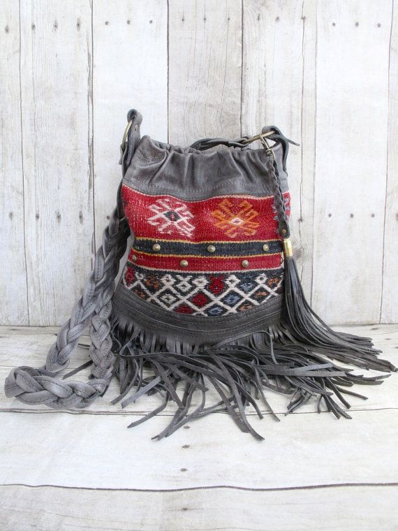 Kilim Bag, Leather Fringe Bag, Small Leather Purse, Studded Hobo, Tribal Bag, Grey Leather, Vintage Handmade on Etsy, $280.00