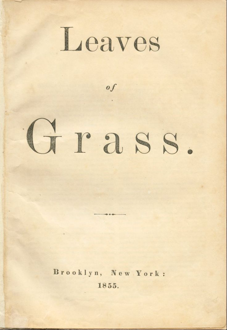 Walt Whitman - Leaves Of Grass (1855) (1st Page)