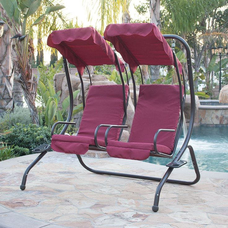 Belleze 2 Person Outdoor Patio Swing Set Armrest Cup-Holder Steel Seat Padded w/ Canopy (Burgundy (Red)) (Fabric), Patio Furniture