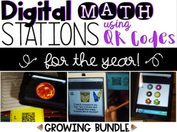 Embed your math instruction and assessments with technology for the whole year! EASY PREP: All you need is an electronic device with a (FREE) QR code reader app downloaded. Print QR codes, place around the room or in a station. Students are then ready to scan the QR