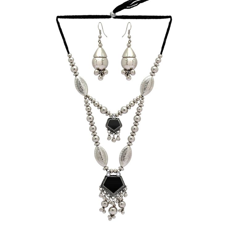 Partywear Special Black Color Mirror Work Necklace With Earrings