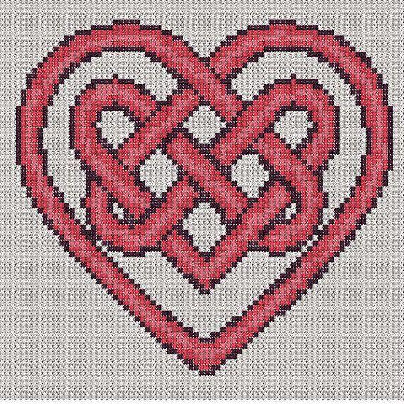 Celtic Knot Cross Stitch Patterns Free   Cross Stitch Pattern Red Heart Knot PDF Emailed Craft Celtic Symbol ...
