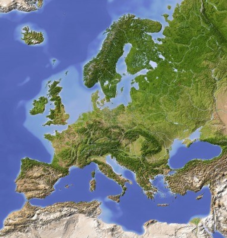 Best Europe Maps With A Twist Images On Pinterest - Europe terrain map