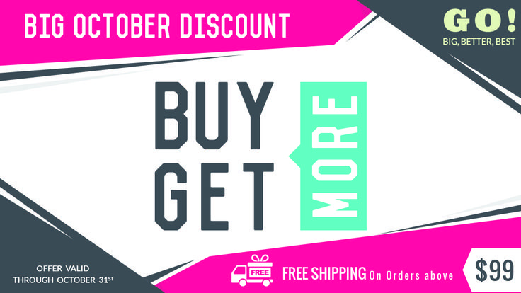 Big October Discount - Buy More Get More,Use coupon code OCT10, OCT20, OCT30 and OCT40,Expires on October 31st 2015 Apply Here:http://www.bannerbuzz.ca