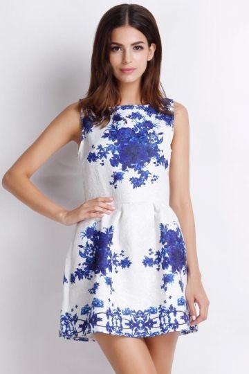 Rochie scurta vintage imprimeu floral - albastru