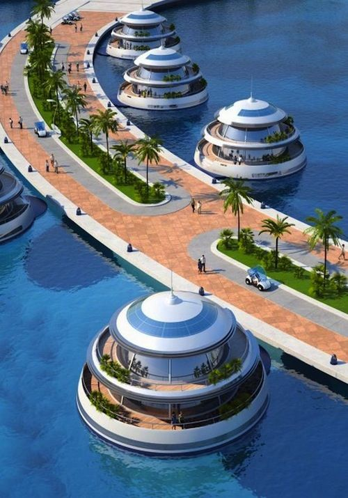 The ambitious Amphibious Floating Resort project at the coast of Qatar will feature 75 luxury suites with private terraces and parts of the resort will be fully submerged under water (when completed).
