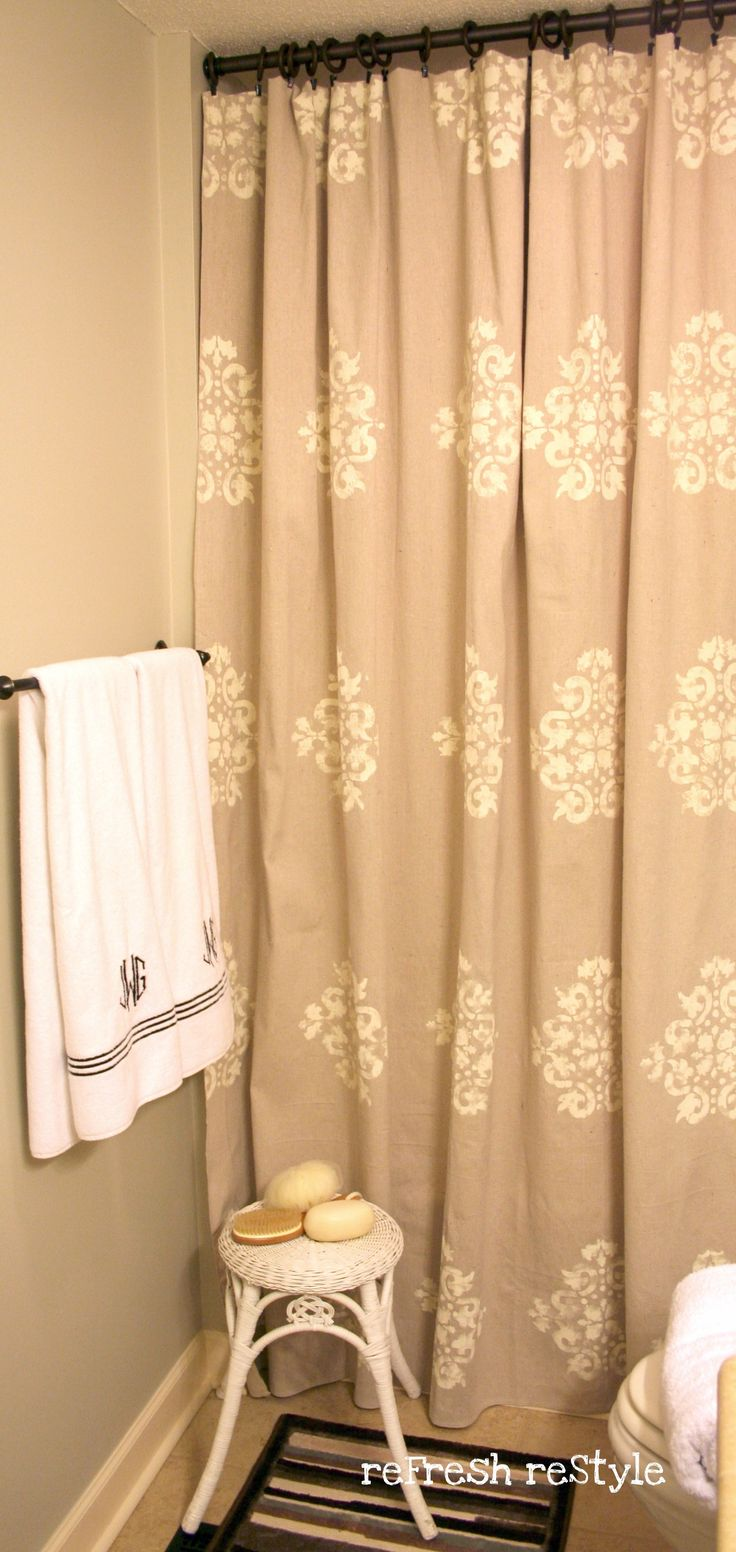 stenciled drop cloth shower curtain. window curtains of drop cloths with fabric