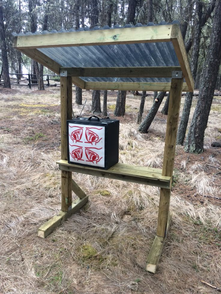 Archery target stand with shelf for box targets. Add hooks for bag targets.