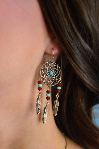 Gold Dream Catcher Earrings – The ZigZag Stripe