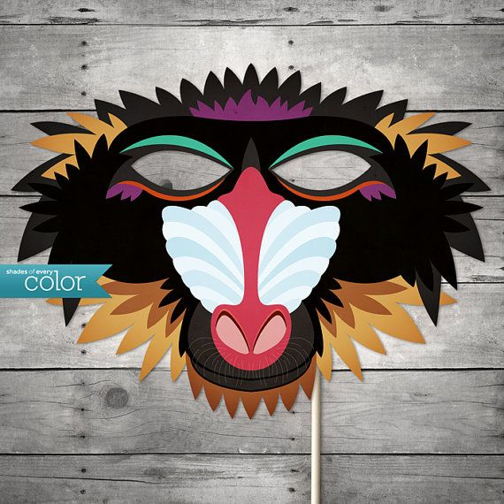 DIY Printable Baboon Monkey Mask  great for Halloween or themed party. By ShadesOfEveryColor, $4.99