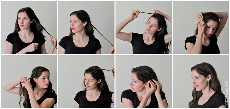 C: Looking FANCY in a hurry! Use a braided pony tail or braided head band with optional chignon