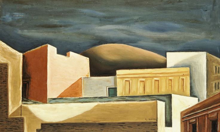 """""""Athens houses"""" (1927 – 1928) by Hatzikyriakos-Ghikas Nikos (Greek, 1906-1994) Oil on canvas , 60,5 x 105 cm. Donated by the artist to the National Gallery in Greece"""