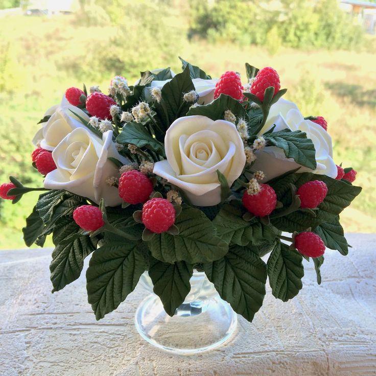 Купить Букет из малины и белых роз - интерьерная композиция, интерьерный букет, букет цветов