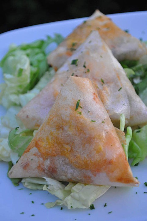 Samoussas courgette & saumon : 6 feuilles de brick, 1 courgette, 1 filet de saumon, herbes de provence ou citron, sel et poivre