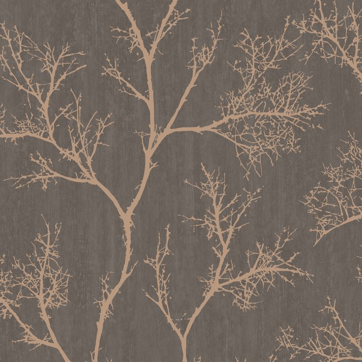 Brown & Gold Icy Trees Wallpaper | Departments | DIY at B&Q