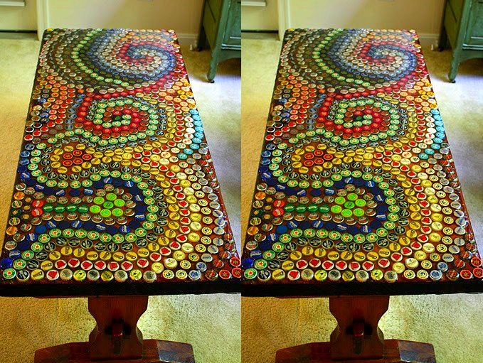 Bottle top table top.  I'm looking for ideas on how to reuse beer bottle tops atm.