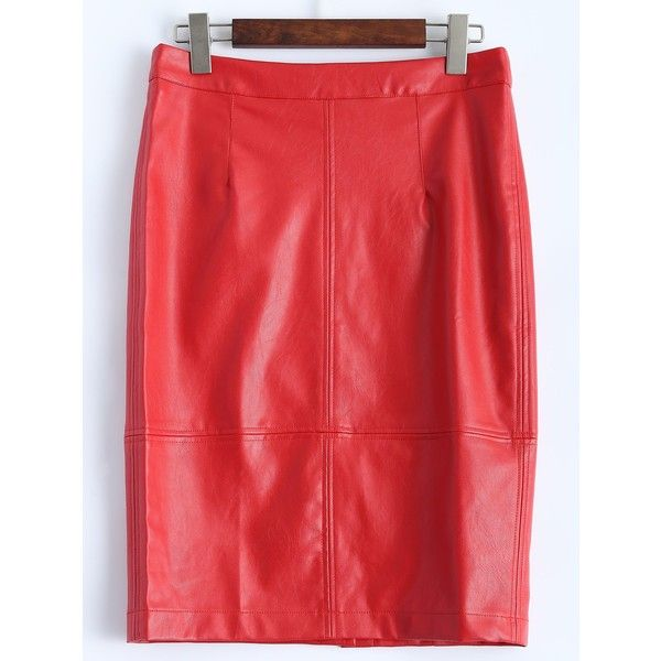 Faux Leather Pencil Skirt (£13) ❤ liked on Polyvore featuring skirts, vegan leather skirt, knee length pencil skirt, red faux leather skirt, imitation leather skirt and red skirt