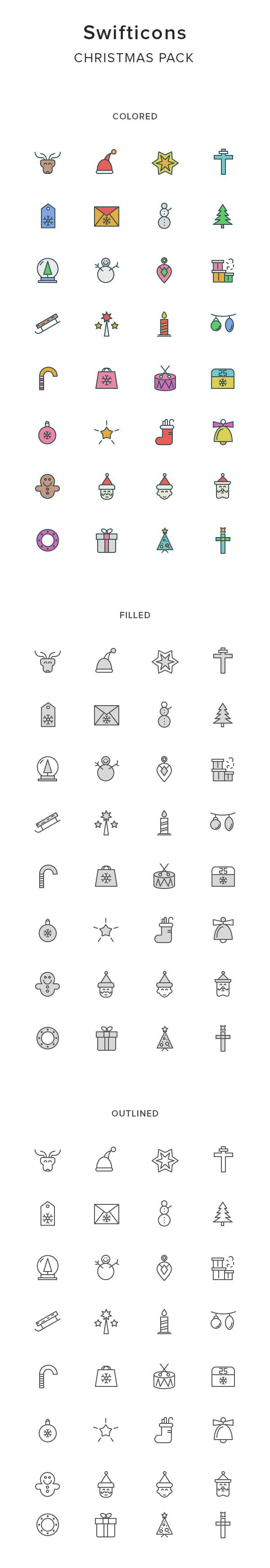 Christmas Icon whose name Swifticons is a cheerful set of 32 Christmas themed icons. It include 3 styles:  outlined, filled and colored. With the simple, vivid icons which suitable for Christmas season so don't hesitate to download the set of  Swifticons , which includes 8000+ icons.