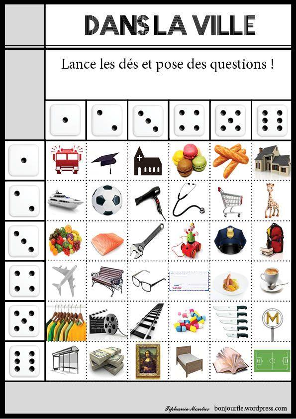 Dans la ville... Start talking, expand on vocabulary... surtout en français. Brilliant. With some creativity, perfect for every student level.