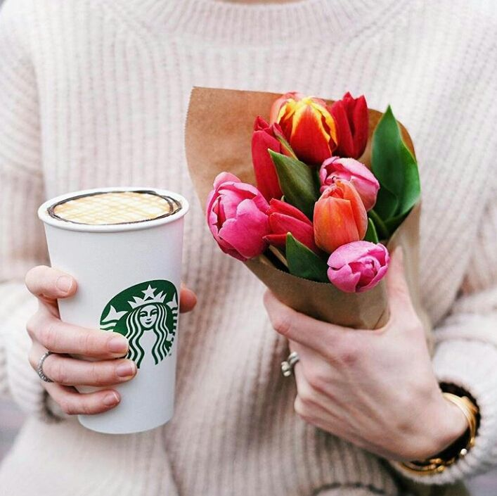 When your hands are full and you couldn't be happier. Coconut milk Mocha Macchiato Starbucks