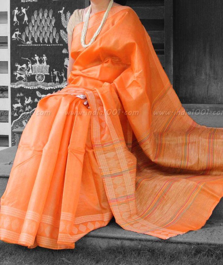 Elegant & Fine Tussar Silk Saree with woven patterns