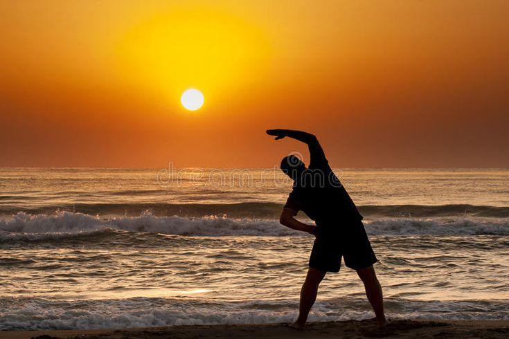 Silhouette Man Sea Sunrise Doing Fitness Exercise Silhouette Of Young Man Doing Ad Sunrise Fitness Exercise Silho Silhouette Man Sunrise Silhouette