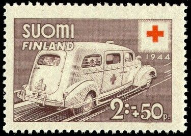 Postage stamp depicting a Finnish ambulance from the year 1944.