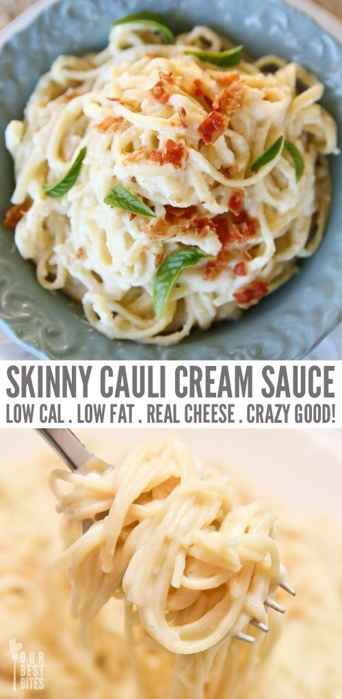 This miracle sauce is a game changer!! SO cheesy and creamy and delish. Whole family loves it! Skinny Cauliflower Cream Sauce from Our Best Bites