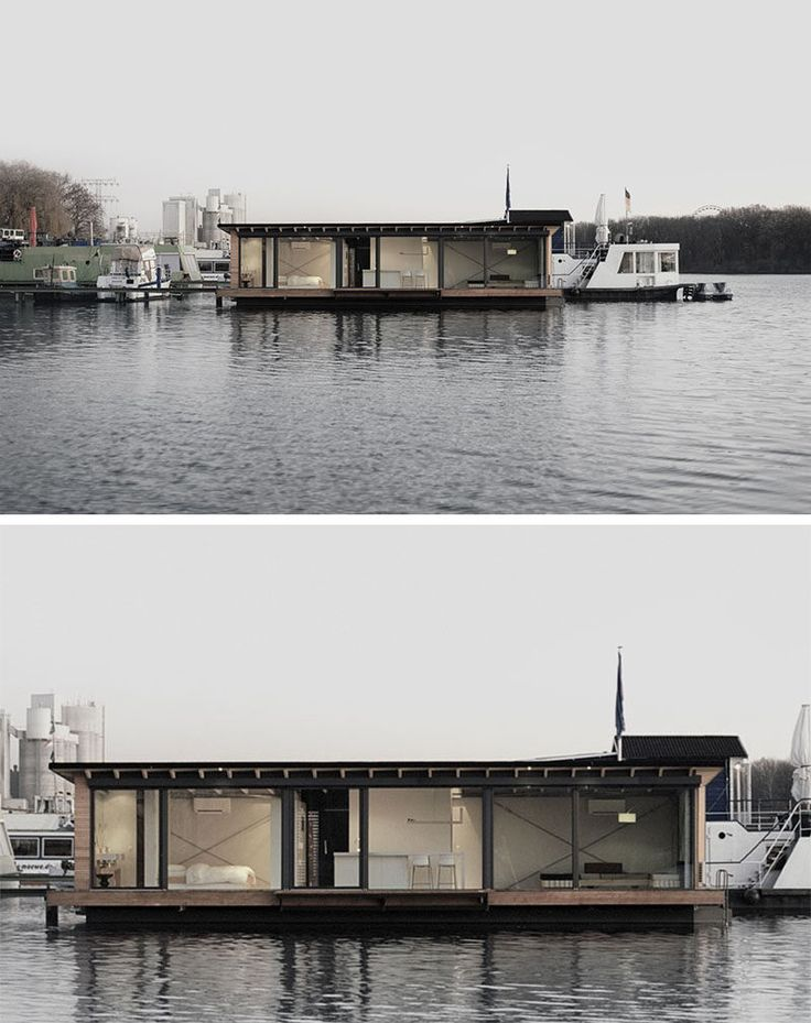 11 Awesome Examples Of Modern House Boats // This modern houseboat in Berlin…