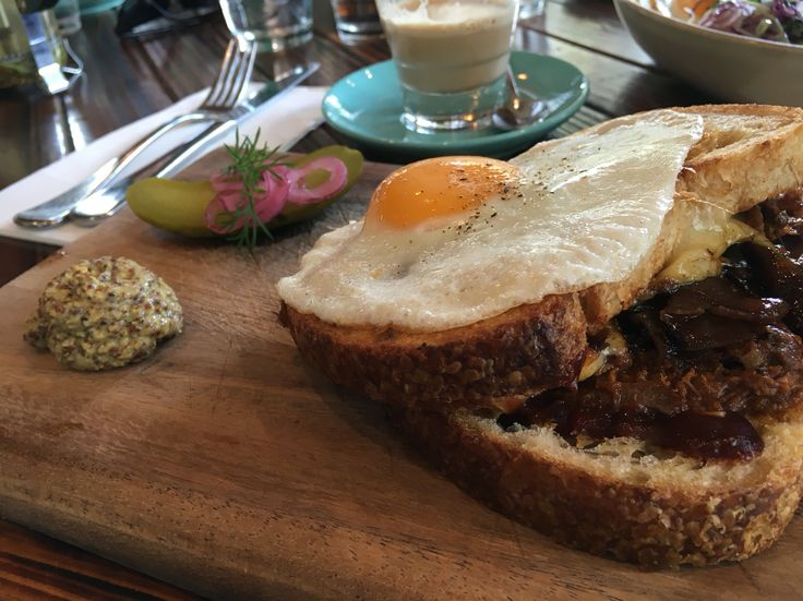 BBQ Beef Brisket Toasty, with 'Stone and Wood' beer onions, cheese fondue, fried egg, pickles, grain mustard @Stagger Lee's, Fitzroy