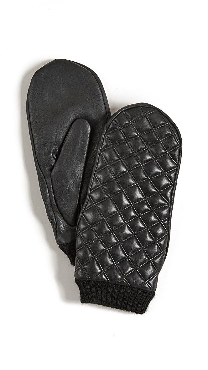 Agnelle Quilted Leather Mittens | SHOPBOP