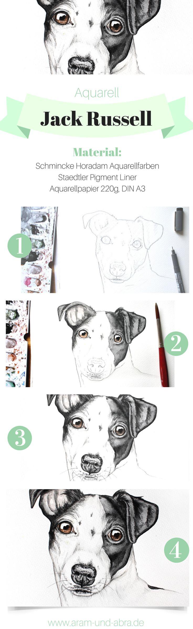 Schritt für Schritt: Hund malen in Aquarell | Portrait | Zeichnen | DIY | Tipps | Anleitung | kreativ | Kunst | Tierportrait | Hunde | Jack Russell Terrier