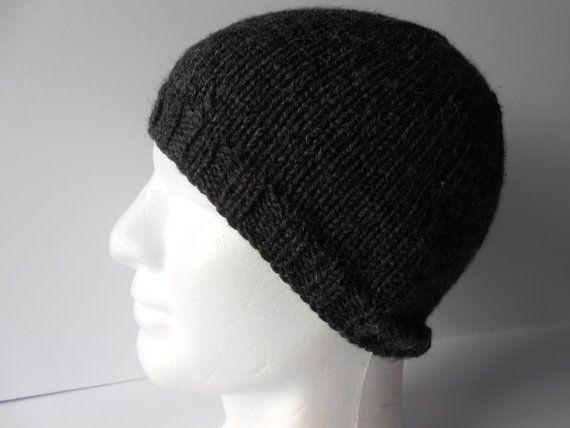 Men's Beanie Hat Grey Beanie Hat Knit beanie cap by AluraCrafts