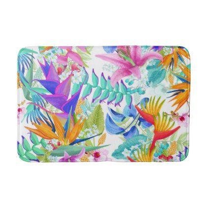 Tropical Exotic Flowers Bath Mat - flowers floral flower design unique style