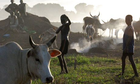 Nuer children play among cattle in Sudan