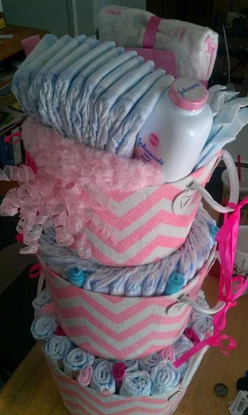 Diaper cake for girls baby shower
