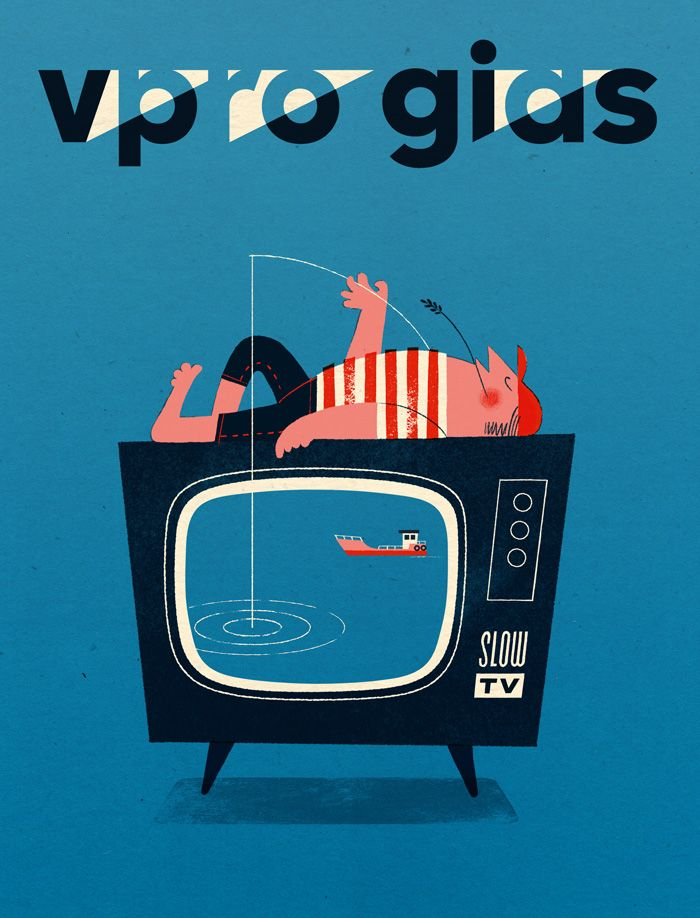 Slow TV. Cover illustration for VPRO gids