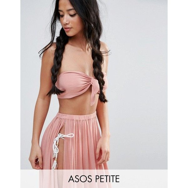 ASOS PETITE Beach Bandeau Top with Twist Front Co-ord (£12) ❤ liked on Polyvore featuring tops, black, petite, bandeau bikini tops, asos, asos tops, petite tops and ruched bandeau top