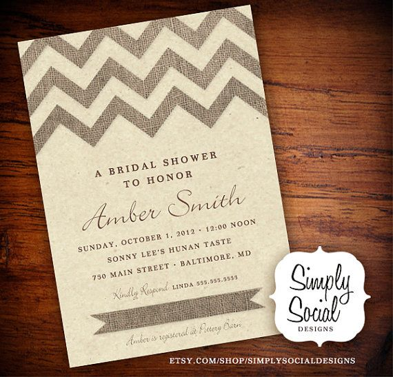 Burlap Chevron Bridal Shower Baby Shower Invitation with Kraft Paper