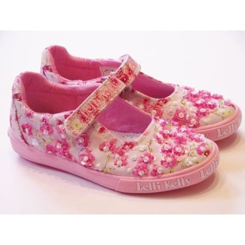 Lelli Kelly Katie LK9134 Girls Pink Canvas Shoes With Bead Design