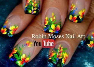Robin Moses Nail Art: DIY Hand Painted Neon Flower nail art design Tutorial
