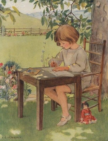 1923 Vintage Childrens Print Child Sitting In The Shade Of A Tree Writing A…